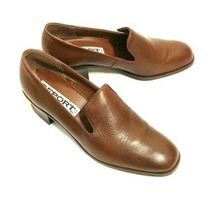 Report Brown Leather Loafers, Size 9